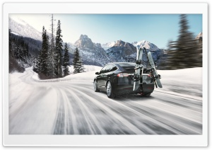 Tesla Model X SUV Electric Car, Winter Ski Ultra HD Wallpaper for 4K UHD Widescreen desktop, tablet & smartphone