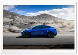 Tesla Model Y Electric Car - Blue, Side View Ultra HD Wallpaper for 4K UHD Widescreen desktop, tablet & smartphone