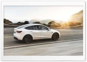 Tesla Model Y Electric Car - White, Sunset Ultra HD Wallpaper for 4K UHD Widescreen desktop, tablet & smartphone