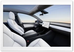 Tesla Model Y Electric Car White Interior HD Wide Wallpaper for 4K UHD Widescreen desktop & smartphone