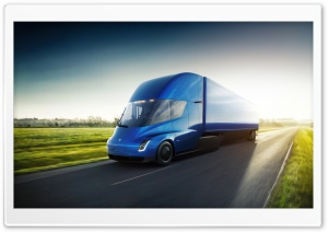 Tesla Semi Electric Truck Blue Ultra HD Wallpaper for 4K UHD Widescreen desktop, tablet & smartphone