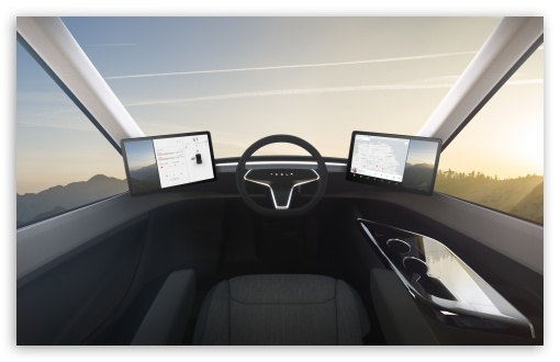 Download Tesla Semi Interior Command UltraHD Wallpaper
