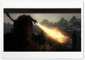 Thanatos Dragon - A Skyrim mod Scene Ultra HD Wallpaper for 4K UHD Widescreen desktop, tablet & smartphone