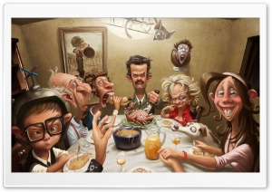 Thanksgiving Day Family Dinner funny HD Wide Wallpaper for 4K UHD Widescreen desktop & smartphone