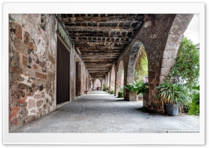The Arcade of The Plaa Major Santa Pau, Catalonia Ultra HD Wallpaper for 4K UHD Widescreen desktop, tablet & smartphone