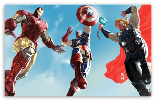 The Avengers - Iron Man, Captain America And Thor ❤ 4K UHD Wallpaper for Wide 16:10 5:3 Widescreen WHXGA WQXGA WUXGA WXGA WGA ; 4K UHD 16:9 Ultra High Definition 2160p 1440p 1080p 900p 720p ; Mobile 5:3 16:9 - WGA 2160p 1440p 1080p 900p 720p ;