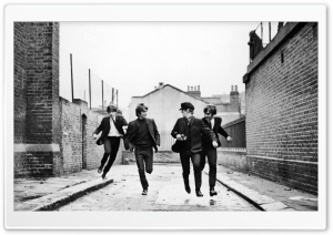 The Beatles Running HD Wide Wallpaper for Widescreen