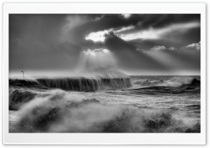 The Cobb, Lyme Regis, Sea, Storm, Black and White Ultra HD Wallpaper for 4K UHD Widescreen desktop, tablet & smartphone