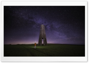 The Daymark, Devon, Night, Milky Way Galaxy Ultra HD Wallpaper for 4K UHD Widescreen desktop, tablet & smartphone