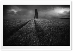 The Daymark historical landmark, Field, Black and White Ultra HD Wallpaper for 4K UHD Widescreen desktop, tablet & smartphone