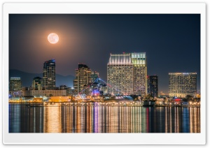 The Full Moon rising over the Downtown San Diego Skyline HD Wide Wallpaper for 4K UHD Widescreen desktop & smartphone