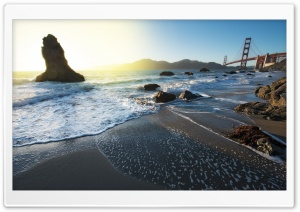 The Golden Gate Bridge From Marshall Beach HD Wide Wallpaper for 4K UHD Widescreen desktop & smartphone