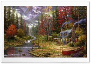 The Good Life by Thomas Kinkade HD Wide Wallpaper for 4K UHD Widescreen desktop & smartphone