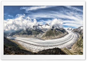 The Great Aletsch Glacier, Alps Mountains, Switzerland Ultra HD Wallpaper for 4K UHD Widescreen desktop, tablet & smartphone