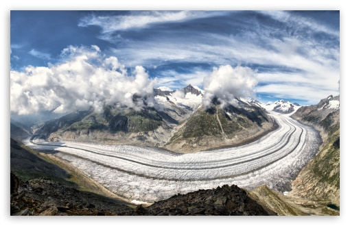 Download The Great Aletsch Glacier, Alps Mountains,... UltraHD Wallpaper