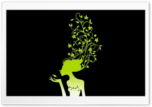 The Green Flower Girl HD Wide Wallpaper for Widescreen