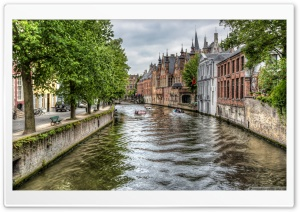 The Groenerei Canal in Bruges Belgium HD Wide Wallpaper for 4K UHD Widescreen desktop & smartphone