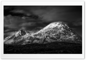 The Herdsman - Buachaille Etive Mor Mountain, Scotland, Black and White Ultra HD Wallpaper for 4K UHD Widescreen desktop, tablet & smartphone