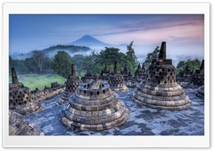 The Hidden Buddhist Temple Of Borobudur At Sunrise, Indonesia HD Wide Wallpaper for 4K UHD Widescreen desktop & smartphone