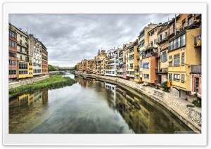 The Houses on the River Onyar Girona, Catalonia Ultra HD Wallpaper for 4K UHD Widescreen desktop, tablet & smartphone