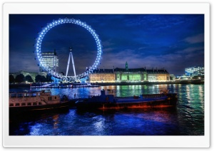 The London Eye At Night HD Wide Wallpaper for 4K UHD Widescreen desktop & smartphone