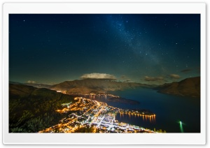 The Milky Way over Queenstown HD Wide Wallpaper for Widescreen