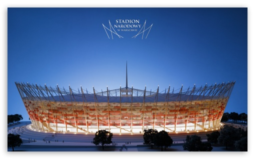 The National Stadium in Warsaw - UEFA Euro 2012 HD wallpaper for Wide 5:3 Widescreen WGA ; HD 16:9 High Definition WQHD QWXGA 1080p 900p 720p QHD nHD ; Mobile 5:3 16:9 - WGA WQHD QWXGA 1080p 900p 720p QHD nHD ;