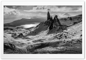 The Old Man of Storr rocky Hill in Scotland, Panoramic View Ultra HD Wallpaper for 4K UHD Widescreen desktop, tablet & smartphone