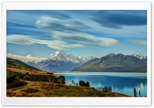 The Road to Mount Cook along Lake Pukaki HD Wide Wallpaper for 4K UHD Widescreen desktop & smartphone