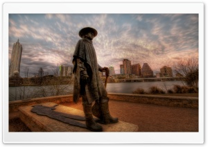 The Stevie Ray Vaughan Memorial Statue in Austin HD Wide Wallpaper for Widescreen