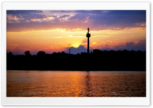 The Sunset of City and Danube HD Wide Wallpaper for Widescreen