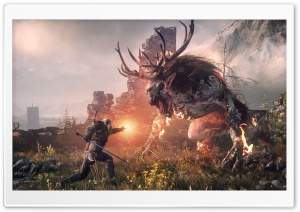 The Witcher 3 Wild Hunt - Geralt Fighting the Fiend HD Wide Wallpaper for Widescreen