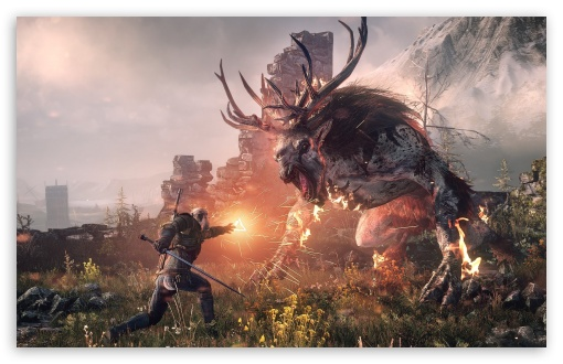 The Witcher 3 Wild Hunt - Geralt Fighting the Fiend HD wallpaper for Wide 16:10 5:3 Widescreen WHXGA WQXGA WUXGA WXGA WGA ; HD 16:9 High Definition WQHD QWXGA 1080p 900p 720p QHD nHD ; Standard 4:3 3:2 Fullscreen UXGA XGA SVGA DVGA HVGA HQVGA devices ( Apple PowerBook G4 iPhone 4 3G 3GS iPod Touch ) ; iPad 1/2/Mini ; Mobile 4:3 5:3 3:2 16:9 - UXGA XGA SVGA WGA DVGA HVGA HQVGA devices ( Apple PowerBook G4 iPhone 4 3G 3GS iPod Touch ) WQHD QWXGA 1080p 900p 720p QHD nHD ;