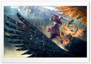 The Witcher 3 Wild Hunt Geralt and a Griffin HD Wide Wallpaper for Widescreen