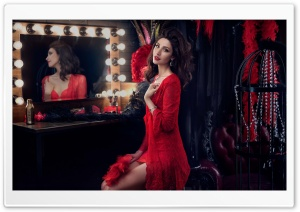 Theatre Dressing Room, Mirror with Lights, Woman HD Wide Wallpaper for 4K UHD Widescreen desktop & smartphone