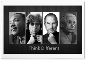 Think Different-Martin Luther King, John Lennon, Steve Jobs and Albert Einstein HD Wide Wallpaper for 4K UHD Widescreen desktop & smartphone