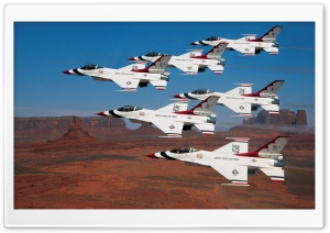 Thunderbirds Flying In Formation Over Monument Valley HD Wide Wallpaper for Widescreen