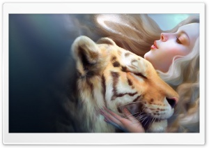 Tiger And Girl Ultra HD Wallpaper for 4K UHD Widescreen desktop, tablet & smartphone