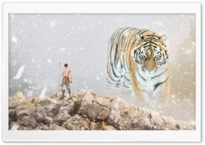 Tiger and Hunter HD Wide Wallpaper for Widescreen