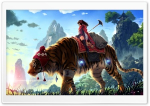 Tiger Ride Painting HD Wide Wallpaper for Widescreen