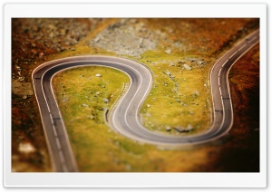 Tilt And Shift Curvy Road HD Wide Wallpaper for 4K UHD Widescreen desktop & smartphone