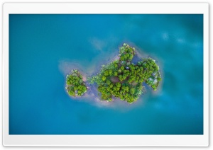 Tiny Island, Blue Water Aerial View Photography HD Wide Wallpaper for 4K UHD Widescreen desktop & smartphone
