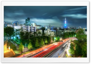 Tokyo Evening HDR HD Wide Wallpaper for Widescreen