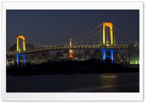 Tokyo Rainbow Bridge at Night HD Wide Wallpaper for 4K UHD Widescreen desktop & smartphone