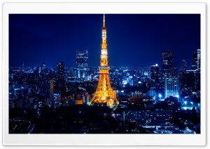 Tokyo Tower At Night HD Wide Wallpaper for Widescreen