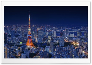 Tokyo Tower, Night, City Ultra HD Wallpaper for 4K UHD Widescreen desktop, tablet & smartphone