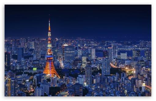 Download Tokyo Tower, Night, City UltraHD Wallpaper