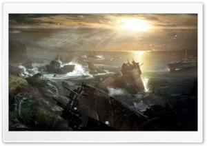 Tomb Raider 2012 Video Game - Shipwreck Vista HD Wide Wallpaper for Widescreen