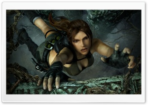 Tomb Raider Underworld Lara Croft Falling HD Wide Wallpaper for Widescreen