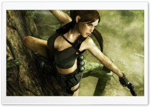 Tomb Raider Underworld Lara Croft Shooting HD Wide Wallpaper for Widescreen